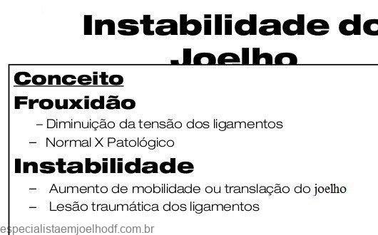 instabilidade do joelho